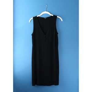 Madewell Easy Sleeveless Button Front Black Dress